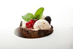 Ice Cream. With Berries and Mint royalty free stock photos