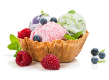 Ice cream of berry in a basket of waffle Royalty Free Stock Photo