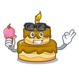 With ice cream birthday cake character cartoon. Vector illustration Royalty Free Stock Images