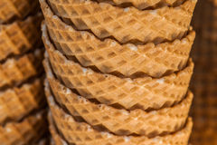 Ice-cream biscuit cups in a stock 3 Royalty Free Stock Image