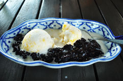 Ice cream with black sticky rice Royalty Free Stock Photo