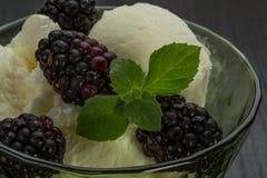 Ice cream with blackberry Stock Images