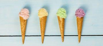 Ice cream-blue background Royalty Free Stock Image