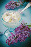 Ice cream in a blue cup Royalty Free Stock Image