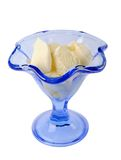 Ice cream in a blue glass ice-cream bowl Royalty Free Stock Image