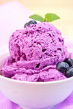 Ice cream blueberry with mint in bowl on napkin Stock Images