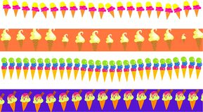 Ice cream borders. Set of four delicious ice cream cone decorative page border banner designs Royalty Free Stock Image