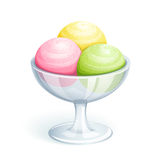 Ice-cream in bowl. 3 ice-cream balls in bowl. Vector EPS10 Stock Photography
