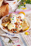 Ice cream bowl with sprinkles banana, almonds, love, heart, happiness, many, waffle Stock Photo