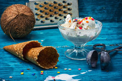 Ice cream in  bowl and two waffle cup Stock Images