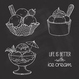 Ice Cream Bowls Over Chalkboard Stock Images