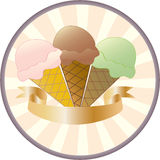Ice Cream Button. Button featuring three different flavours of ice cream and a gold banner for you to add your own text Royalty Free Stock Photos