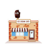 Ice cream cafe colorful store front on white background Royalty Free Stock Photography