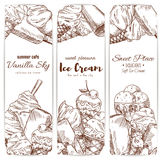 Ice cream cafe desserts sketch vector banners set. Ice cream sketch banners set for cafe, gelateria or restaurant. Vector sweet fruity ice cream desserts soft Stock Photos
