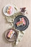 Ice cream cake. S on plates Royalty Free Stock Photo