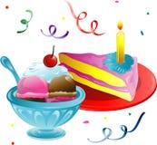 Ice Cream and Cake slice Royalty Free Stock Photos