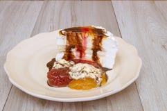 Ice cream cake. Strawberries,cream , chocolate and jams Stock Images
