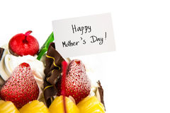 Ice-cream cake with white card of mothers da Stock Photo