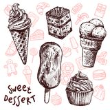 Ice Cream And Cakes Sketch Set Royalty Free Stock Photo