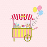 Ice cream and candy cart. Vector. Royalty Free Stock Image