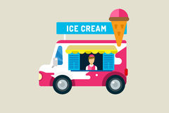 Ice cream car icon. Cold milk product, vanilla. Symbol, auto transport, transportation, mobile restaurant, fast food, kids desserrt. Design elements.  Isolated Royalty Free Stock Photo