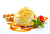 Ice cream with caramel sauce Stock Photo
