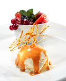 Ice Cream and Caramel Syrup Royalty Free Stock Image