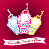 Ice Cream Card 7. Hand-drawn ice cream on the pink background. Vector illustration Royalty Free Stock Photo