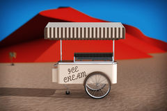 Ice cream cart in Abstract Desert with Red Dunes. 3d Rendering Stock Photo