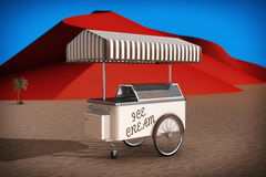Ice cream cart in Abstract Desert with Red Dunes. 3d Rendering Royalty Free Stock Images