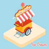 Ice cream cart 3d flat icon Stock Photography
