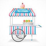 Ice Cream Cart Market Card. Vector Stock Photo