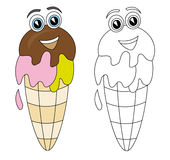 Ice cream cartoon. Happy smiling ice cream cartoon isolated on white. The black & white version is useful for coloring book pages for kids vector illustration