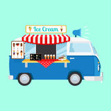 Ice cream cartoon car. Icon on light blue background. Vector illustration Royalty Free Stock Image