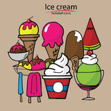 Ice cream cartoon drawing icons Royalty Free Stock Photos
