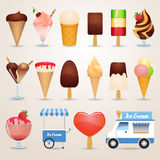 Ice cream cartoon icons set Stock Photography
