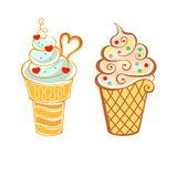Ice cream in cartoon style Royalty Free Stock Images