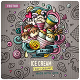Ice Cream cartoon vector doodle illustration Royalty Free Stock Photos