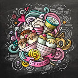Ice Cream cartoon vector doodle watercolor illustration. Ice Cream art cartoon vector doodle illustration. Chalkboard colorful detailed design with lot of Royalty Free Stock Photos