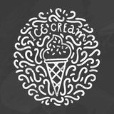 Ice cream chalk style doodles. Stock Images