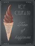 Ice cream on chalkboard background, vector, illustration, freeha Royalty Free Stock Image