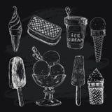 Ice cream on chalkboard Royalty Free Stock Photos