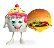 Ice Cream character with burger Stock Images