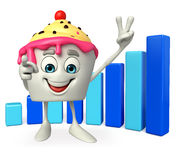 Ice Cream character with Business graph Stock Image