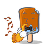 Ice cream character cartoon with trumpet Royalty Free Stock Photography