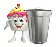Ice Cream character with dustbin Stock Photo