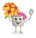 Ice Cream character with flower Royalty Free Stock Photo