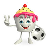 Ice Cream character with football Royalty Free Stock Image
