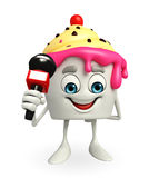 Ice Cream character with mike Royalty Free Stock Image