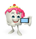 Ice Cream character with mobile Royalty Free Stock Photos